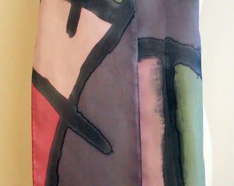 "Handpainted Silk Scarf. Silk Scarf. Hand Painted Silk. Wedding. Bridesmaids Gift. Silk belt. Silk Headband. Silk Art.78""x7.8"""