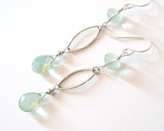 Green Fluorite Tear Drop Long Earrings, Sterling Silver Leaf Shape Ellipse, Ear Wire Options