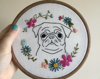 Pug/dog embroidery hoop with flowers