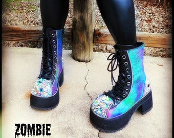 "Platform ""Acid"" Crystal Boots"