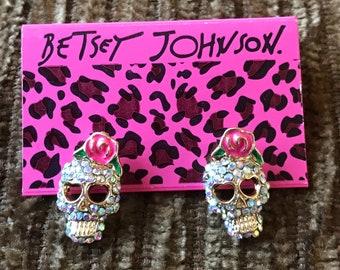 Betsey Johnson Retro Crystal Sugar Skull Stud Earrings