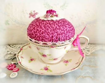 Cup Pincushion / Cup Pin Cushion /Grace Tea Ware Cup and Saucer Handmade Pincushion Handcrafted CharlotteStyle Needlecraft