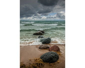 Waves coming in on the shore rocks in Sturgeon Bay on Lake Michigan Shore by Wilderness Park in Michigan No.87712 - A Seascape Photograph