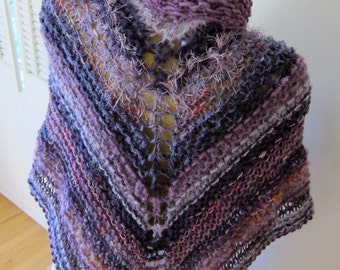 Large Purple and Lilac Hand Knit Shawl Wrap