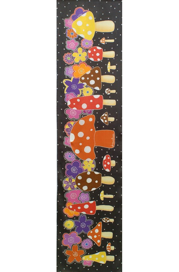 Colorful mushroom and flower hand painted scarf. Cute luxury gift