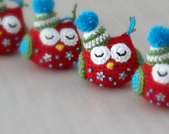 Christmas ornament amigurumi owl. Handmade crochet soft plushie ornament. X-mas tree decoration