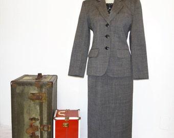 Vintage Miss Pendleton Wool Suit/ Pendleton Wool Blazer and High Waist Pencil Skirt Suit/ Miss Pendleton Wool Suit Size 8