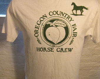 Size M (42) ** 1980s Oregon County Fair Horse Crew Shirt (Single Sided) (Deadstock Unworn)
