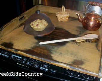 Primitive Wood Apartment Size Stove Top  BOARD Cover - M