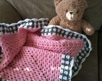 Pink baby blanket Crochet baby afghan Stroller blanket Car seat blanket Baby gift Baby girl blanket Crochet baby blanket Baby shower gift