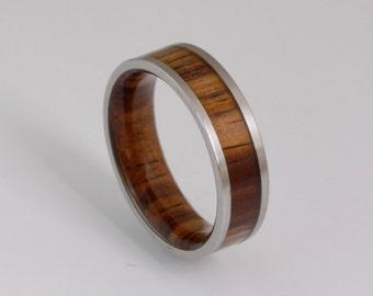 wood wedding band metal wood ring man jewelry woman wedding ring cocobolo wood
