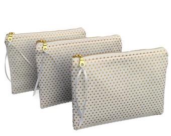 Set of bridesmaid clutches, bridesmaid zipper pouches, wedding cosmetic cases, gold bridesmaid bag, bridesmaid clutch gold, wedding party