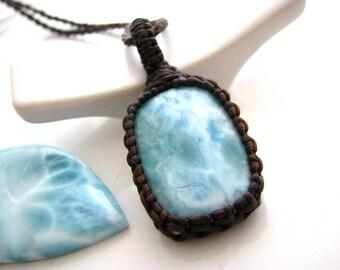 Larimar jewelry, Larimar necklace,  larimar pendant, Wrapped stone pendant, Rare , Surfer jewelry, surfer necklace, beach accessories