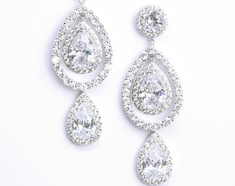 Cubic Zirconia Trio Pear Drop Chandelier Earrings Modern Teardrop Cocktail Earrings Best Gifts For Her