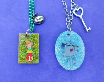 Scarecrow and Tinman necklaces- wizard of oz necklaces