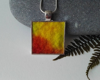 Square Felt Pendant in Soft Yellows and Greens and Red