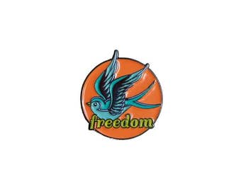 Freedom Swallow Enamel Pin / Soft Enamel Pin / Lapel Pin / Punk Pin / Pin Badge