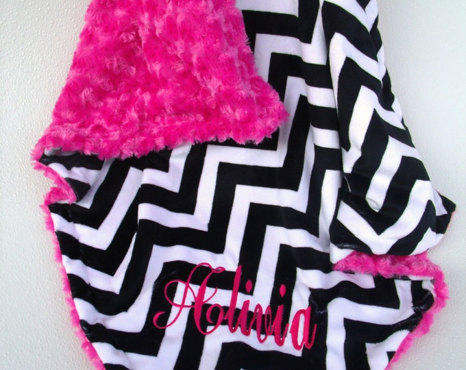 Black White Chevron Minky Baby Blanket, Black and Pink Chevron Minky Baby Blanket, Rose Swirl Blanket