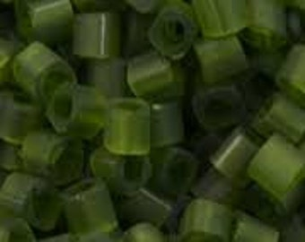 Toho 2 mm cube beads Transparent frosted olivine #940f- 7 gm tubed  high quality japanese seed bead weaving loom stringing embroidery green