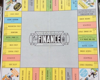 VINTAGE GAMEBOARD, FINANCE, mid century, collectible decor, money game, railroad