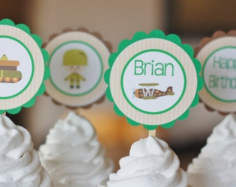 Army cupcake toppers Etsy