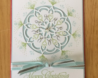 Stampin Up handmade Christmas card - delicate circle in blue and green