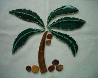 SALE - YSM - XXL 13 pc Palm Tree, Coconuts - Ceramic Mosaic Tile Set