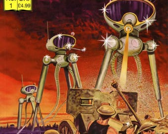 The War of the Worlds (Classics Illustrated) (Paperback), H. G. W.  plus a A4 Framed print of the cover of the paperback