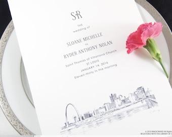 St Louis Skyline Wedding Programs (set of 25 cards)