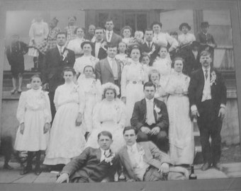 Funny Wedding  Antique Large Cabinet Photo with a List of Interesting Characters