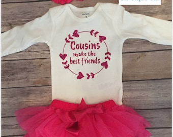 Baby Girl Cousin outfit, hot pink Baby girl outfit, newborn cousin girl outfit,  girl cousin outfit, Cousins make the best friend outfit