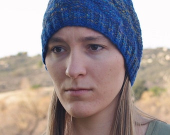 Handspun, Handknit Wool Hat. Blue and Yellow Diagonal Striped Beanie.
