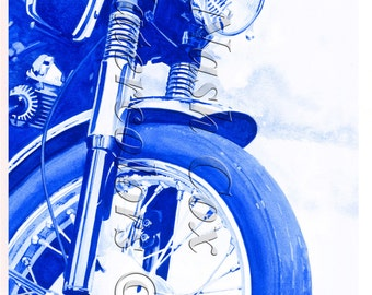 Old Motorcycle Monochrome Painting, Print from Original