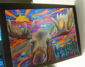 greeting card print of original art-  moose magic