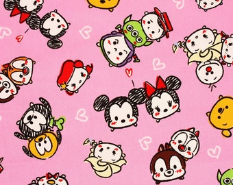 "Tsum Tsum Character Oxford Fabric made in Japan FQ 45cm by 53cm or 18"" by 21"""