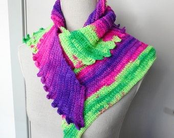 Skinny Neon Scarf Triangular Skinny Wrap with shades of Bright Pink Purple Green handmade from a variegated Yarn - Crochet