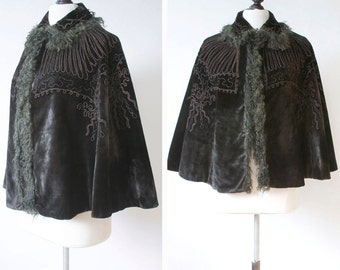 vintage Victorian cape <> Victorian black velvet cape <> lambs hair trimmed late 1800s Victorian cape with soutache and beading