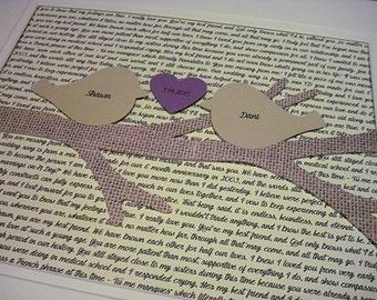 Personalized 11X14 Unframed 3D Paper Tree Love Birds Art Wedding Gift, Anniversary, Wedding Song Lyrics
