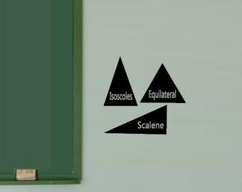 Three Triangles Decal - Math Class Decal - Math Class Wall Decal - Math Sticker - Teacher Gift - Class decos - Equilateral Scalene Isosceles