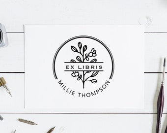 Ex Libris Stamp Custom Library Stamp Modern Book Stamp Self Inking Library Stamp From the Library of Stamp This Book Belongs to Stamp No.1