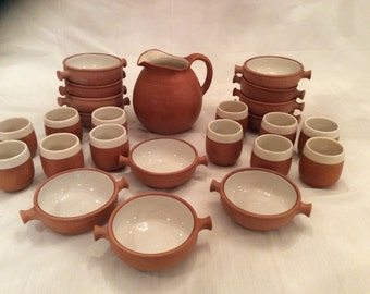 Vintage sangria tapas set clay spanish sangria tapas dish ware set sangria pitcher cups bowls fiesta pottery set Peru & Spanish dinnerware | Etsy