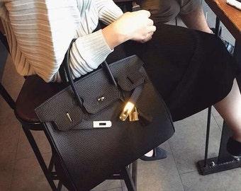 Designer Inspired Bag  Genuine Calfskin Togo Leather Tote  Bag