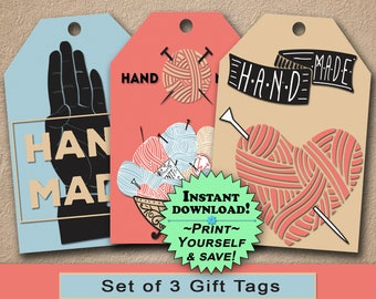 "Instant Print Gift Tags / Favor Tags Set of 3 / ""Handmade"" Knitting / Digital Download / INSTANT DOWNLOAD / PDF Tags / Printable Gift Tags"