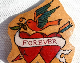 30% OFF Tattoo Hearts Bluebird Gourd Magnet Painted Pyrographed