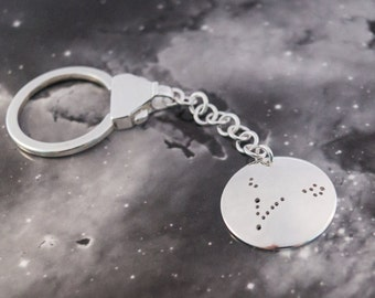 Silver Pisces keyring: The constellation of Pisces on a sterling silver keychain
