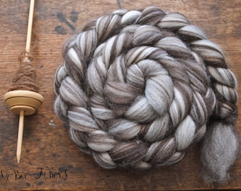 Corriedale Natural Wool Roving Combed Top Spinning or Felting Fiber Humbug Blended Top - 4 oz