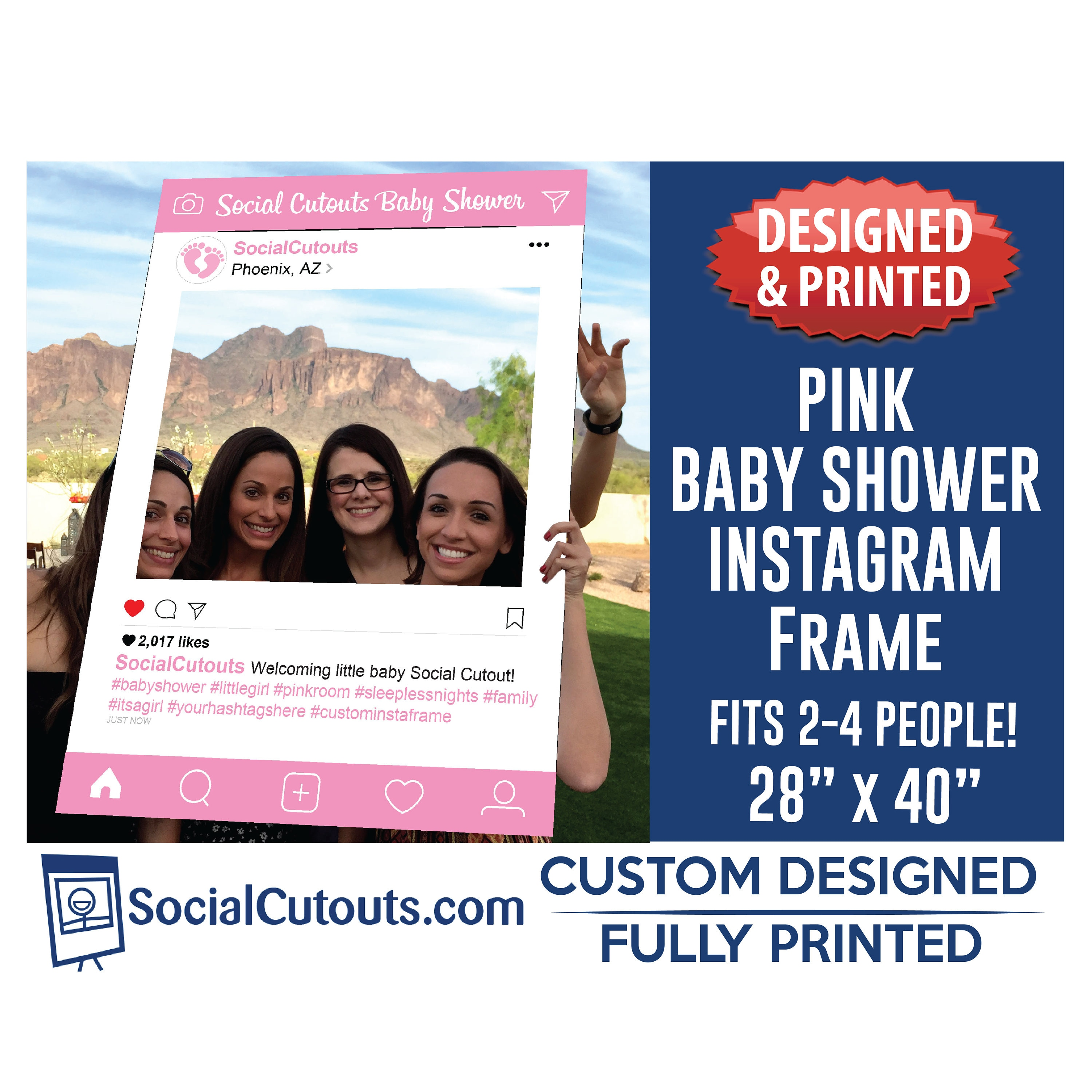 Instagram Frame Baby Shower Photo Prop Fully Customized and