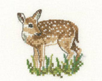 Fawn  Cross Stitch Kit from  Heritage Craft Little Friends on 14ct Aida, Deer kit, needlework kit, cross stitch, counted cross stitch kit