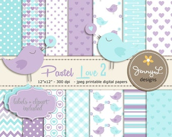 Pastel Baby Shower Digital papers, Love Birds Clipart, Hearts, Baby Baptism, Nursery colors, Violet, Turqouise, Aqua Blue Scrapbooking Paper