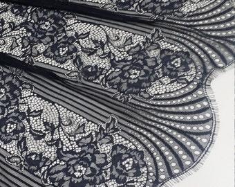 Black Lace fabric French Lace, Chantilly Lace, Bridal lace Wedding Lace Evening dress lace Scalloped Floral lace Lingerie Lace J936711